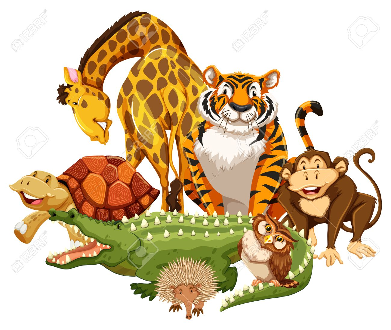Group Of Wild Animals On A White Background Royalty Free Cliparts Vectors And Stock Illustration Image 41170726