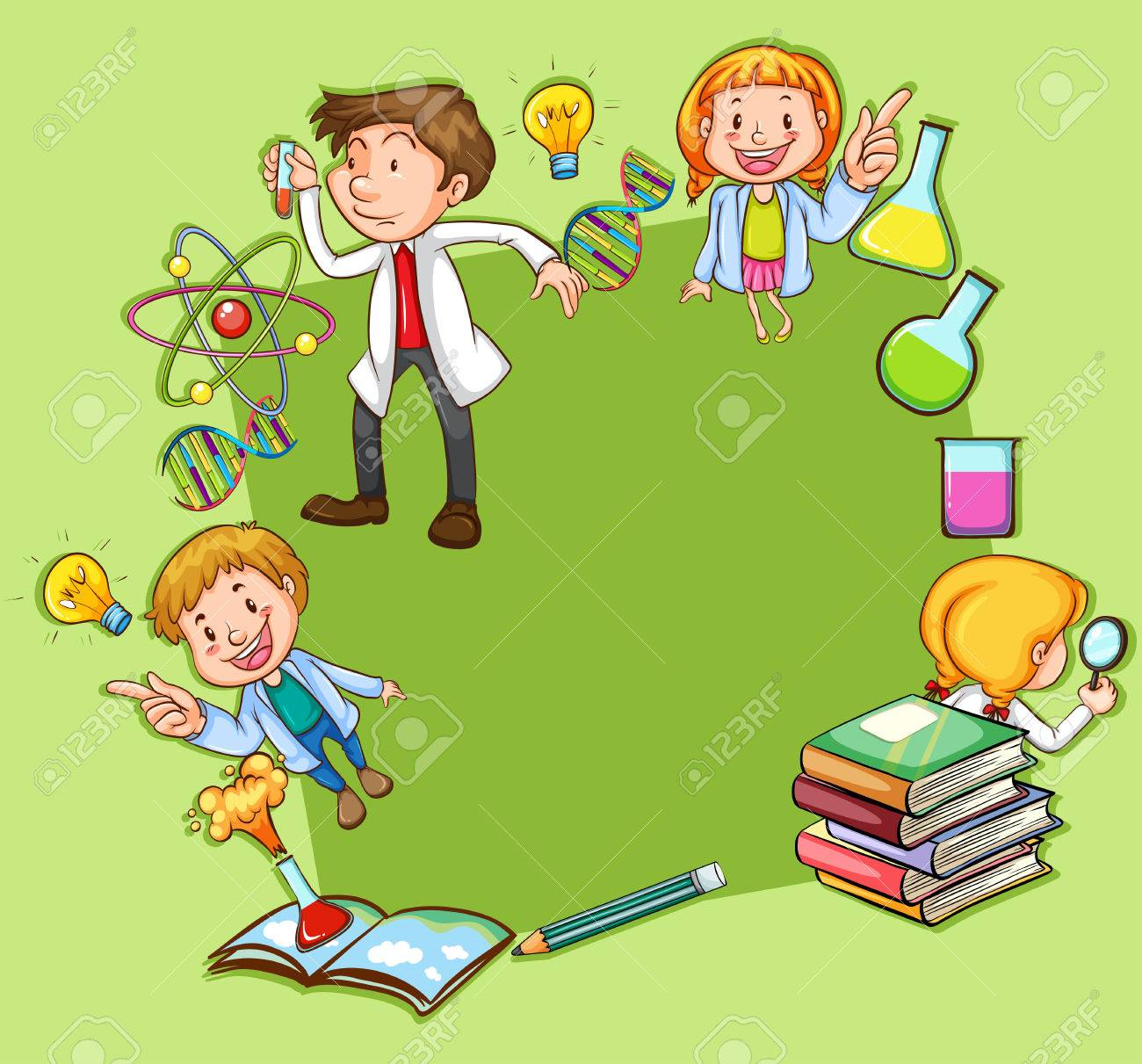 Science Theme Frame On Green Background Royalty Free Cliparts ...