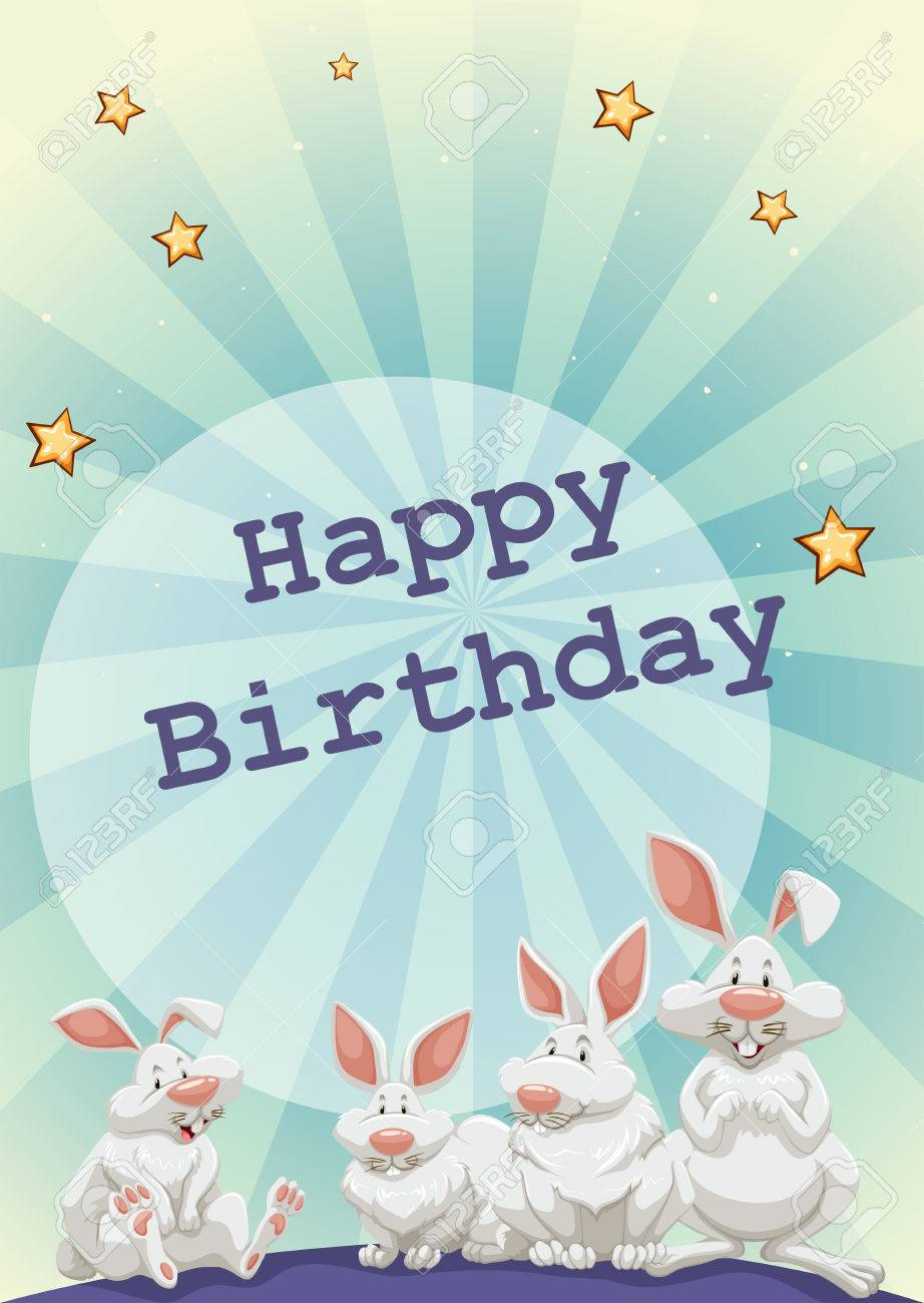 Happy Birthday Card With Rabbits And Stars Background Stock Vector