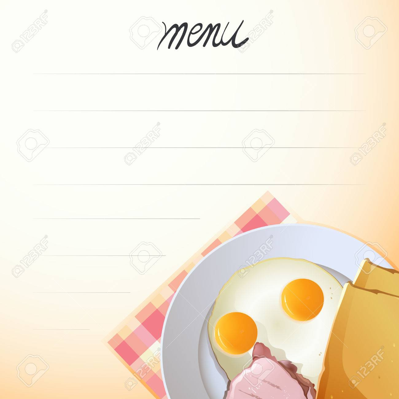 blank menu with fried egg on the plate background royalty free