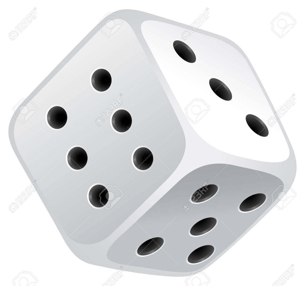 Single dice with black dots Stock Vector - 42358833