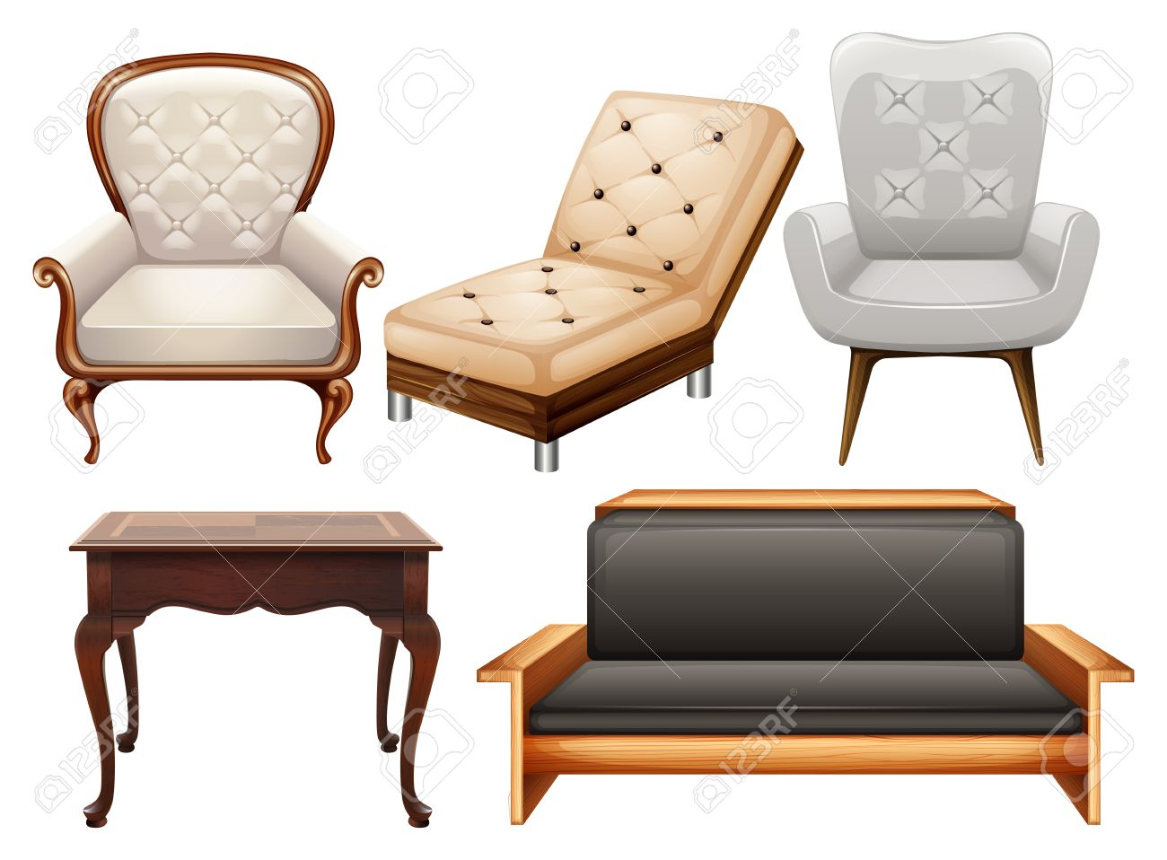 Different Kind Of Chairs In Luxury Designs Stock Vector   42358834