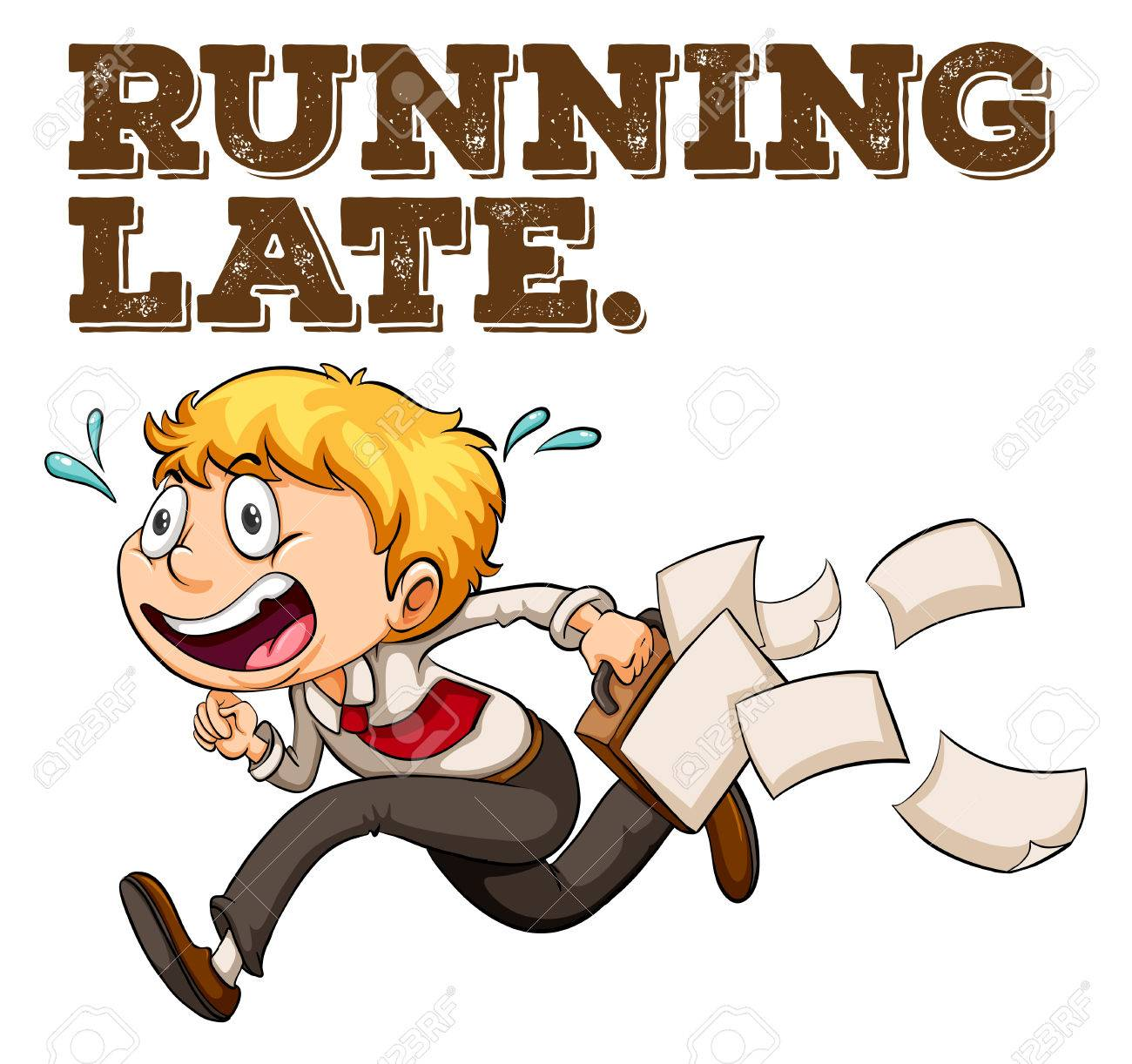 Poster Of A Saying Running Late With A Boy Running Royalty Free