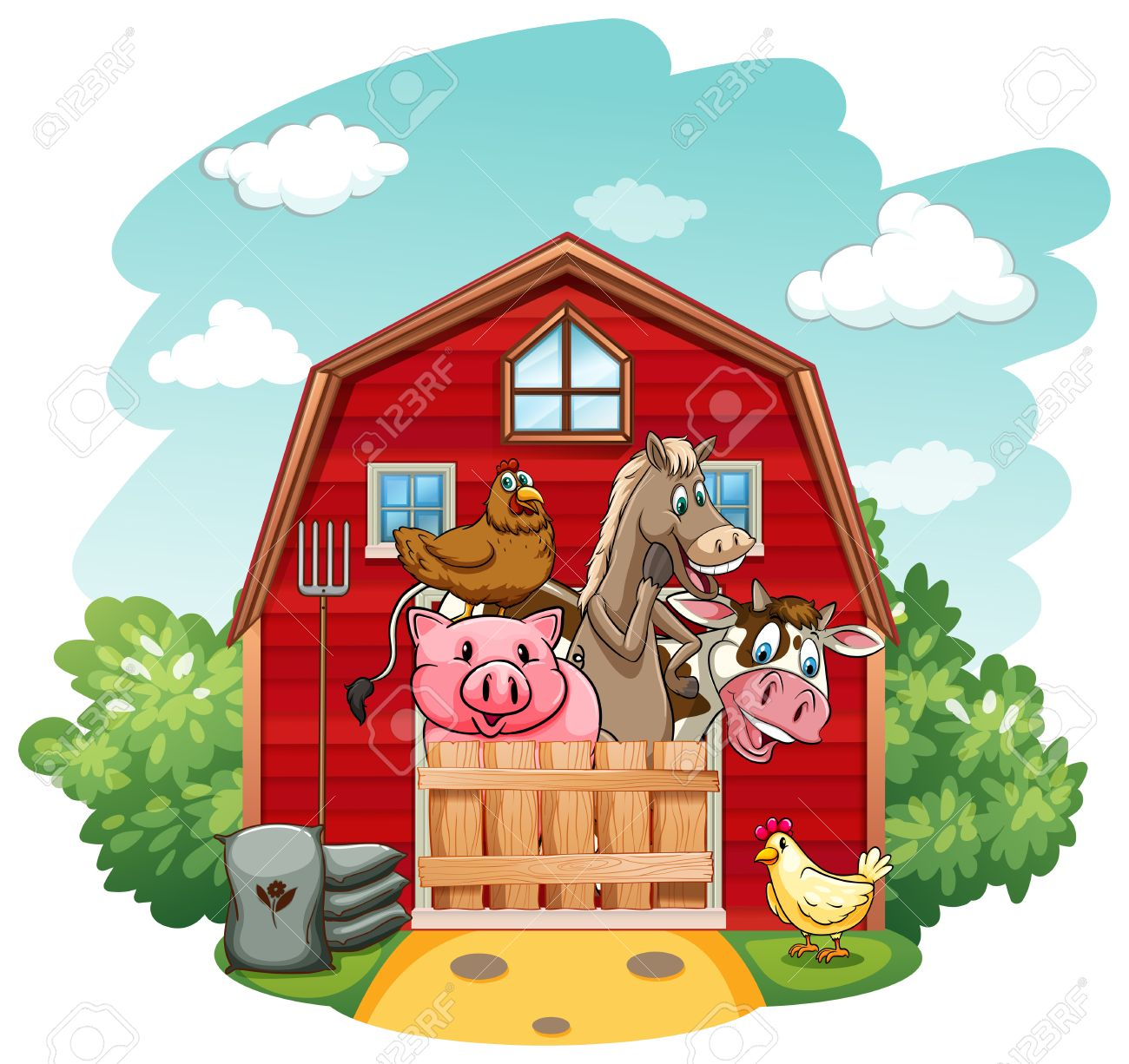 Farm Animals Living In The Barnhouse