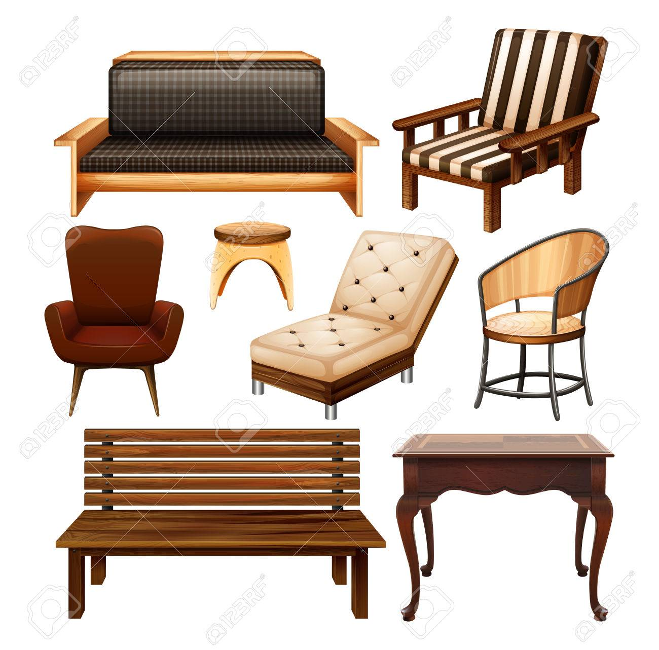 Different Kind Of Chairs And Table Royalty Free Cliparts, Vectors ...
