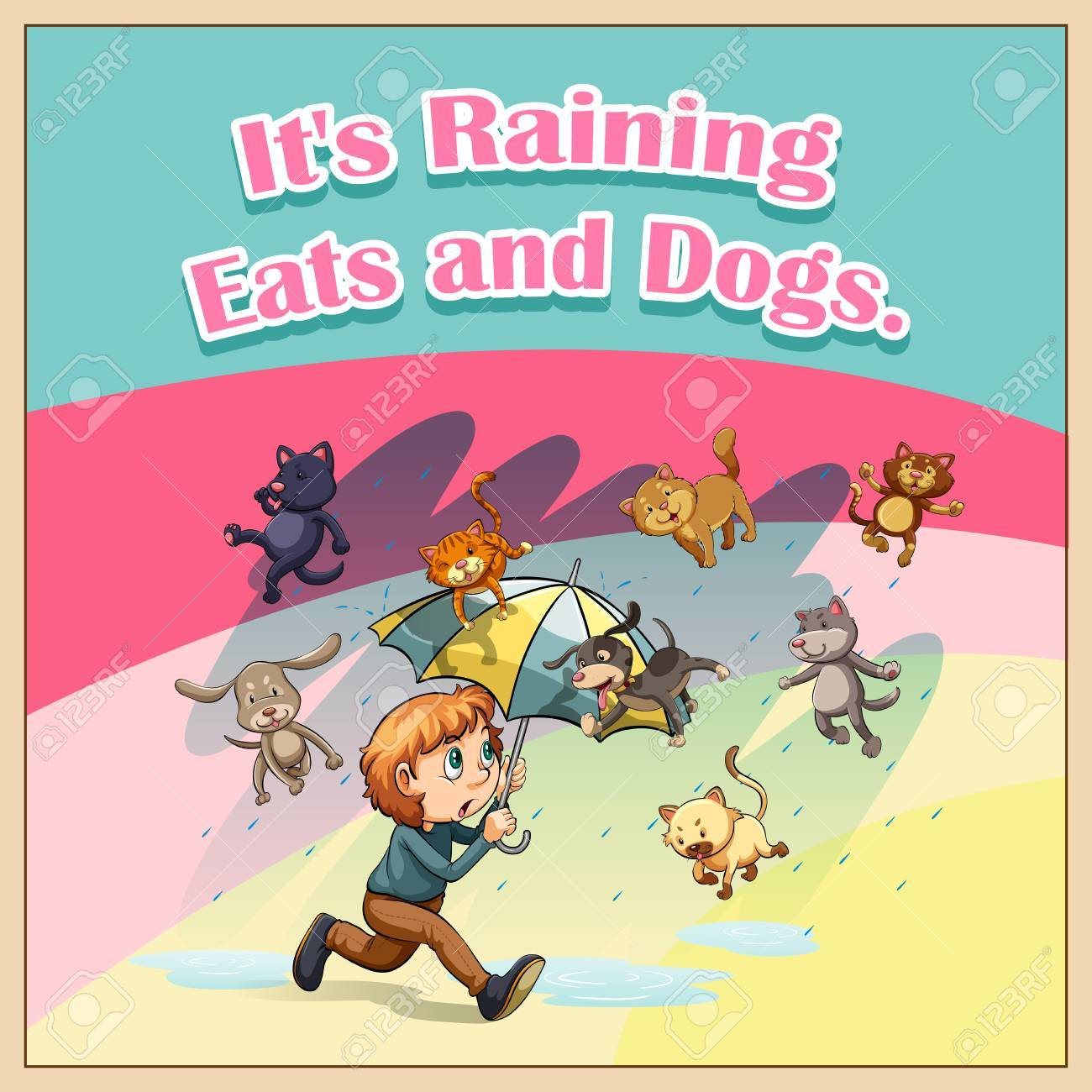 Idiom Saying It S Raining Cats And Dogs Royalty Free Cliparts Vectors And Stock Illustration Image 42520266