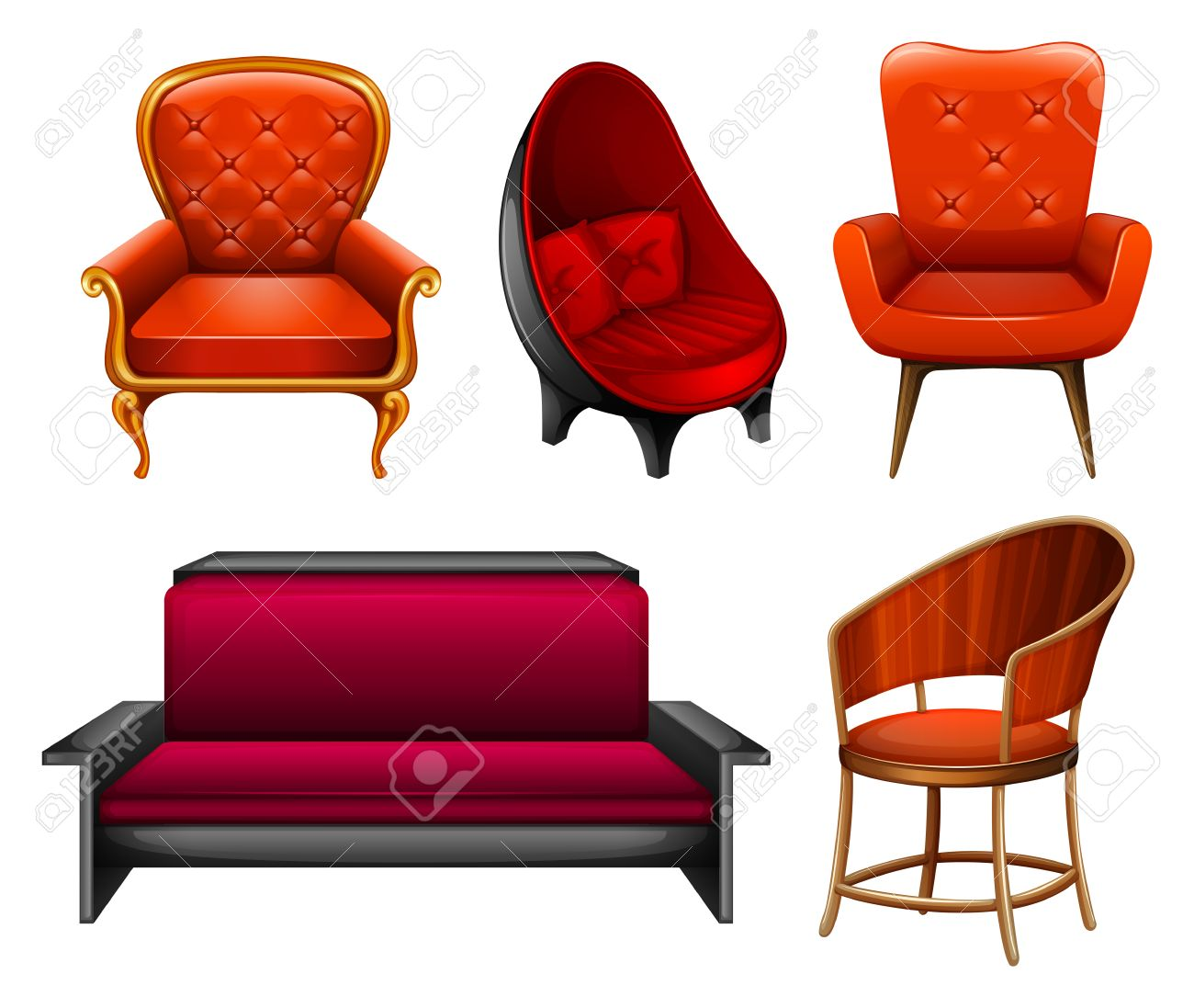 Different Kind Of Chairs In Red Royalty Free Cliparts, Vectors, And ...