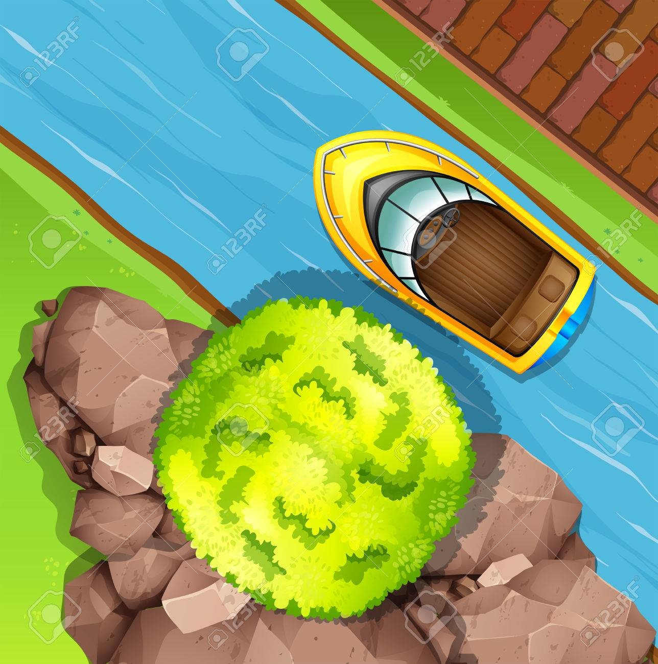 Top Speed Clipart Top View of Speed Boat on The