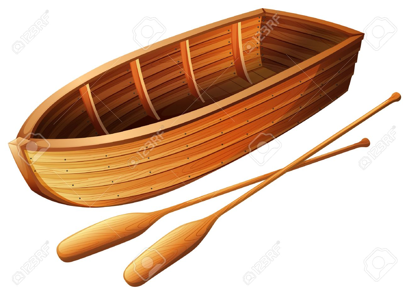 Wooden Boat On White Illustration Stock Vector