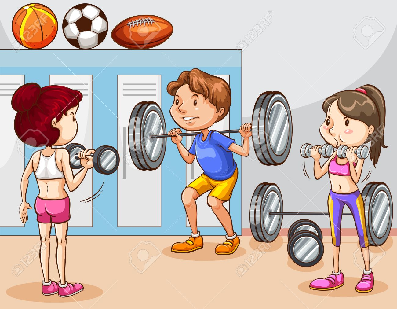 People Working Out In Gym Illustration Royalty Free Cliparts Vectors And Stock Illustration Image 43332347