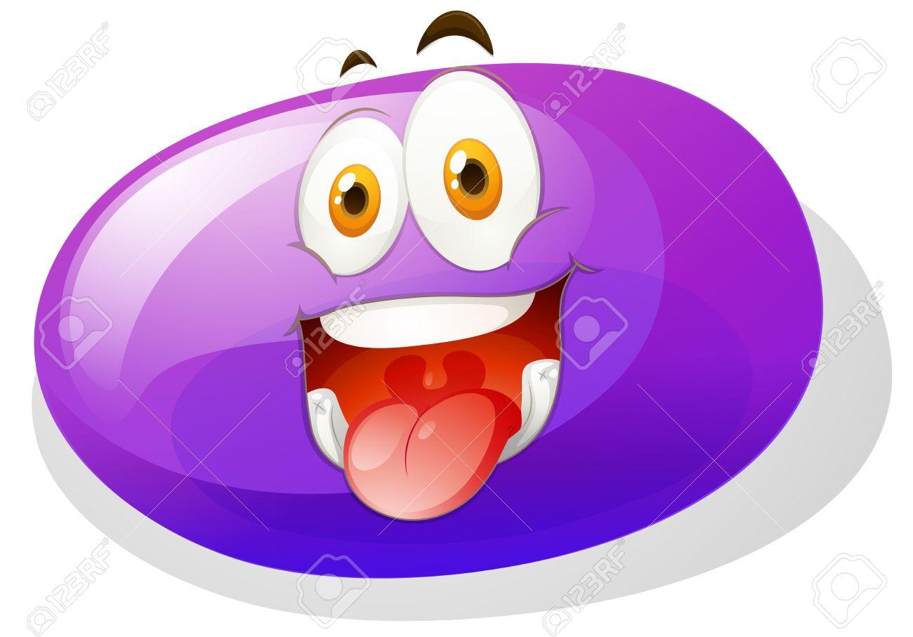 変な顔イラストが紫スライムのイラスト素材ベクタ Image 43923758