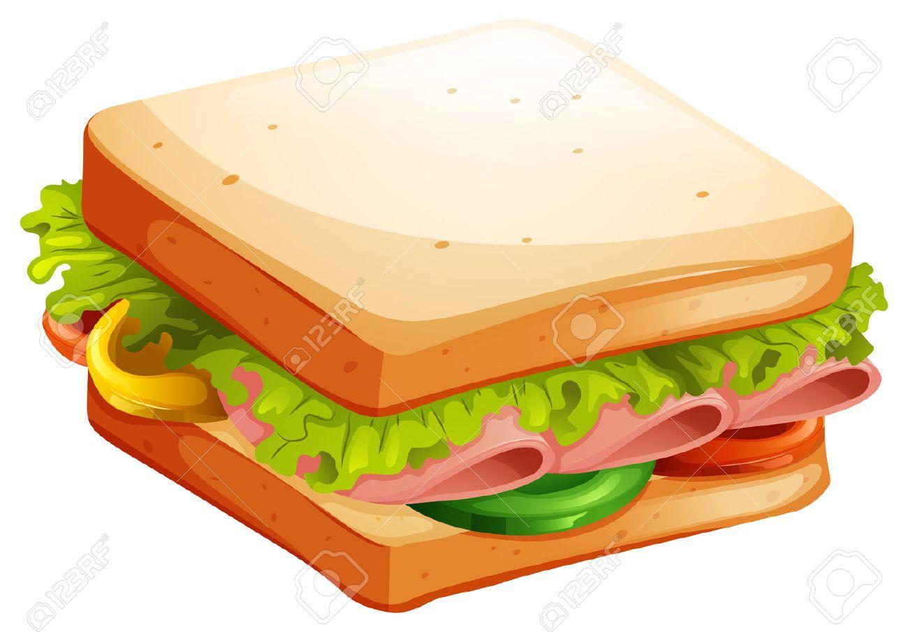Schinken Und Gemüse Sandwich Illustration Lizenzfrei Nutzbare
