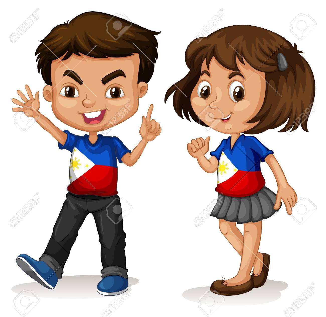 Philippines boy and girl greeting illustration - 44380976