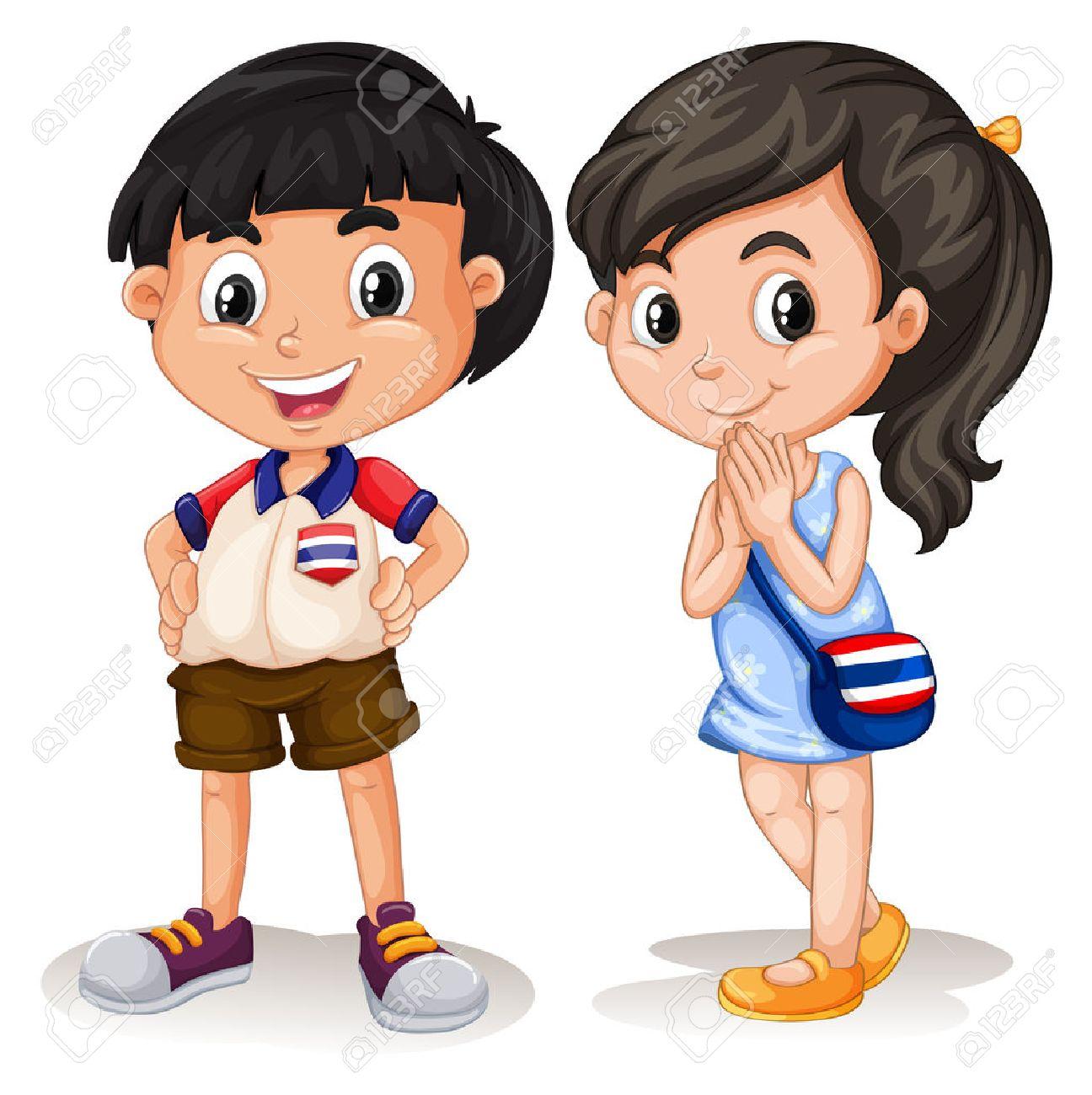 タイの男の子と女の子のイラストの笑顔のイラスト素材ベクタ Image
