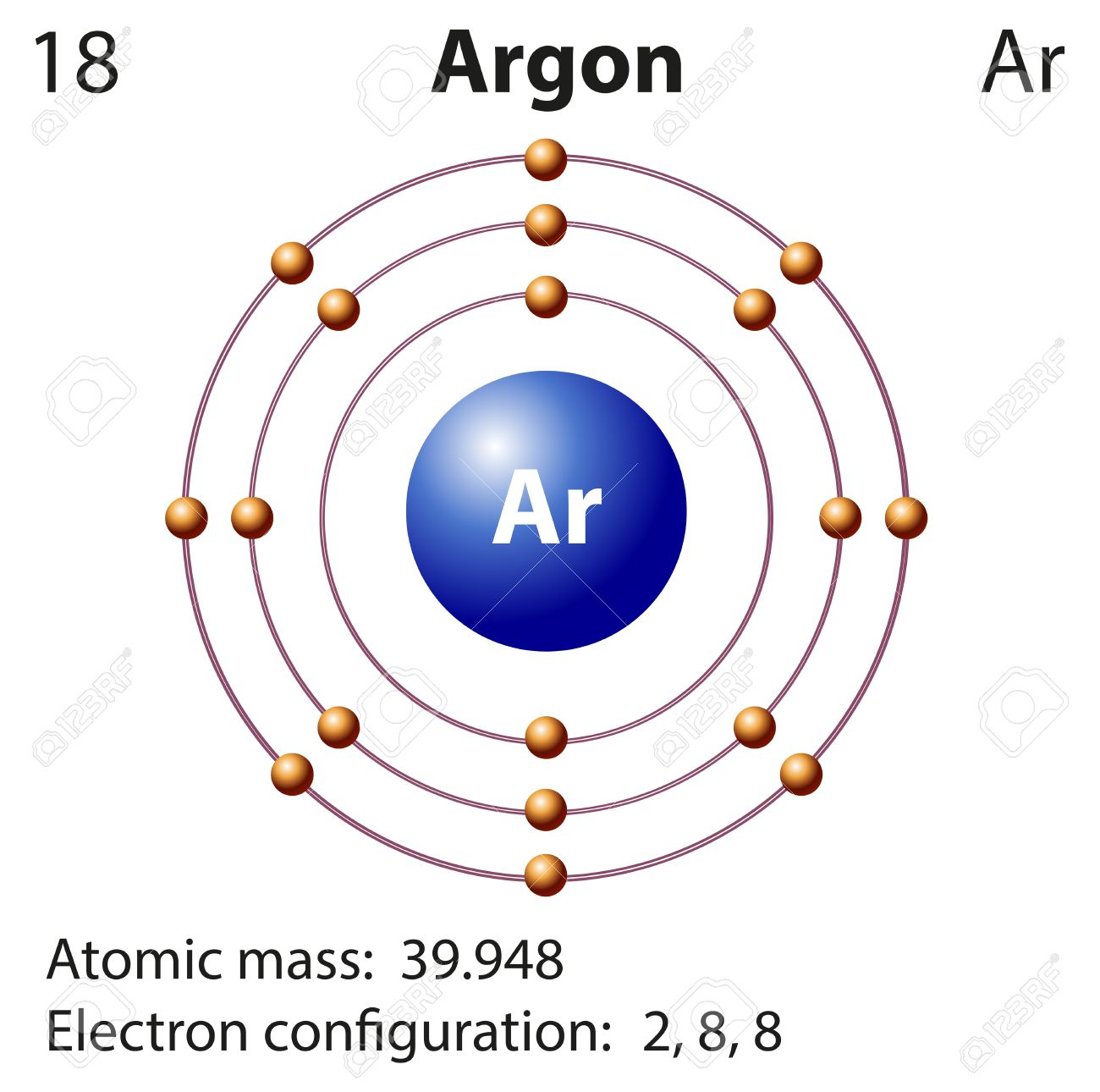 Diagram representation of the element argon illustration royalty diagram representation of the element argon illustration stock vector 44789088 pooptronica Images