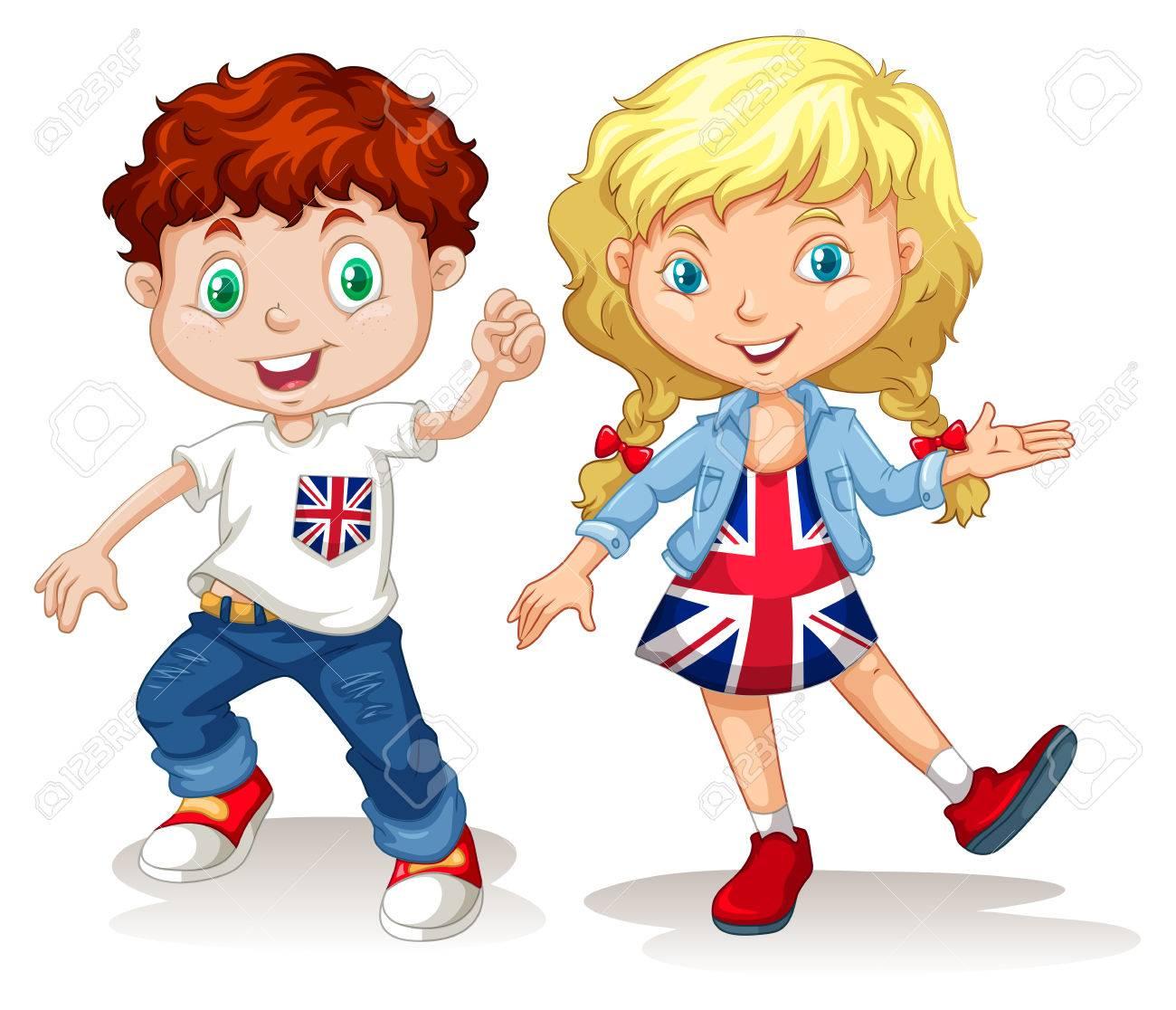 イギリスの男の子と女の子のイラストの笑顔のイラスト素材ベクタ