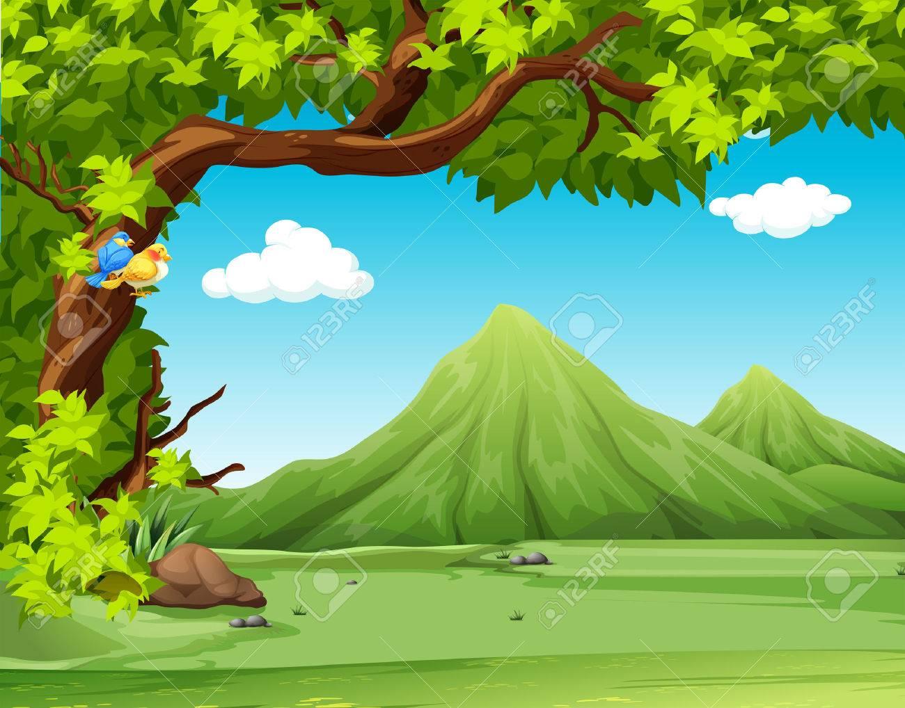 背景イラストの山の中で自然の景色のイラスト素材ベクタ Image 44806318
