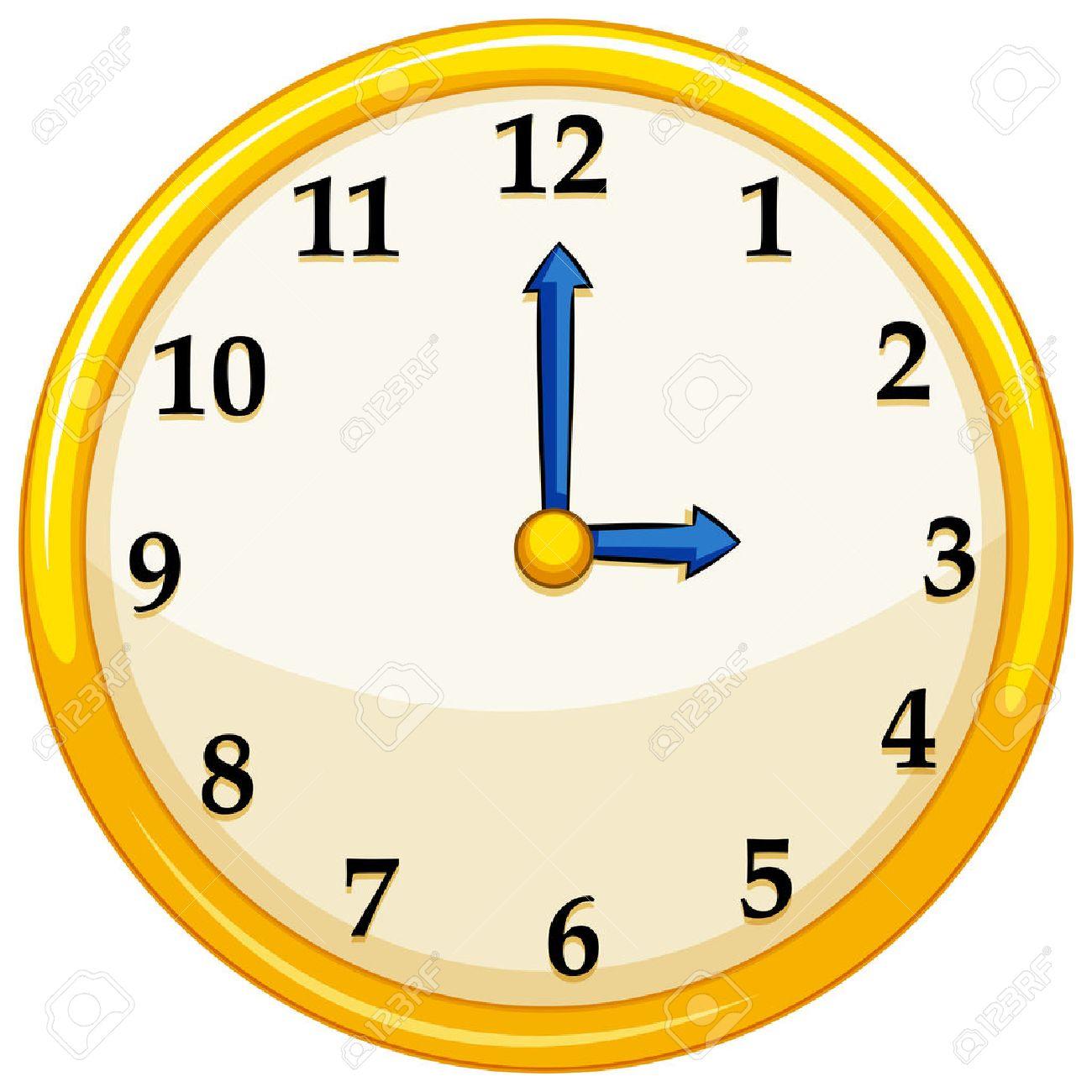 yellow round clock with blue needles illustration royalty free rh 123rf com Blank Clock Clip Art Blank Clock Clip Art