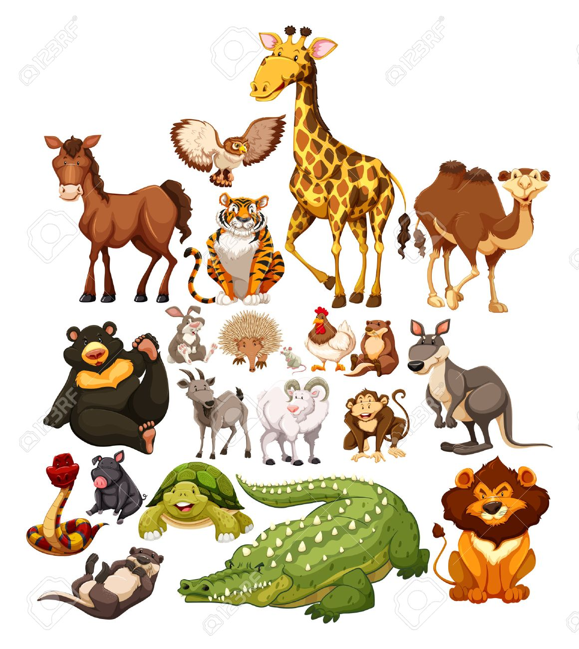 Different type of wild animals illustration Stock Vector - 44952947