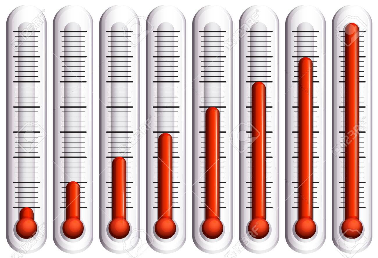 Set of thermometers on white illustration - 45062354