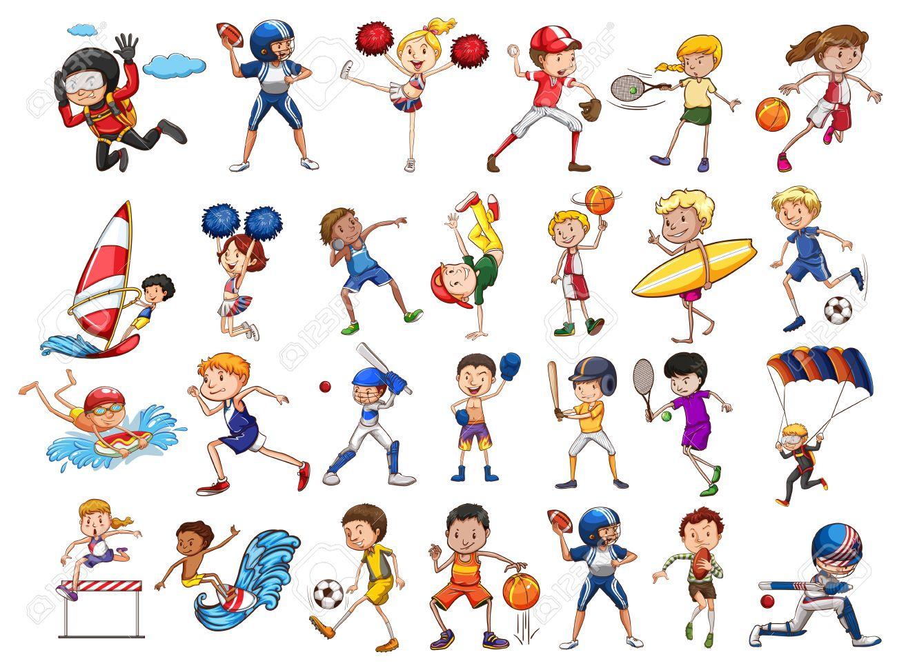 様々 なスポーツのイラストを練習する人々 ロイヤリティフリークリップ