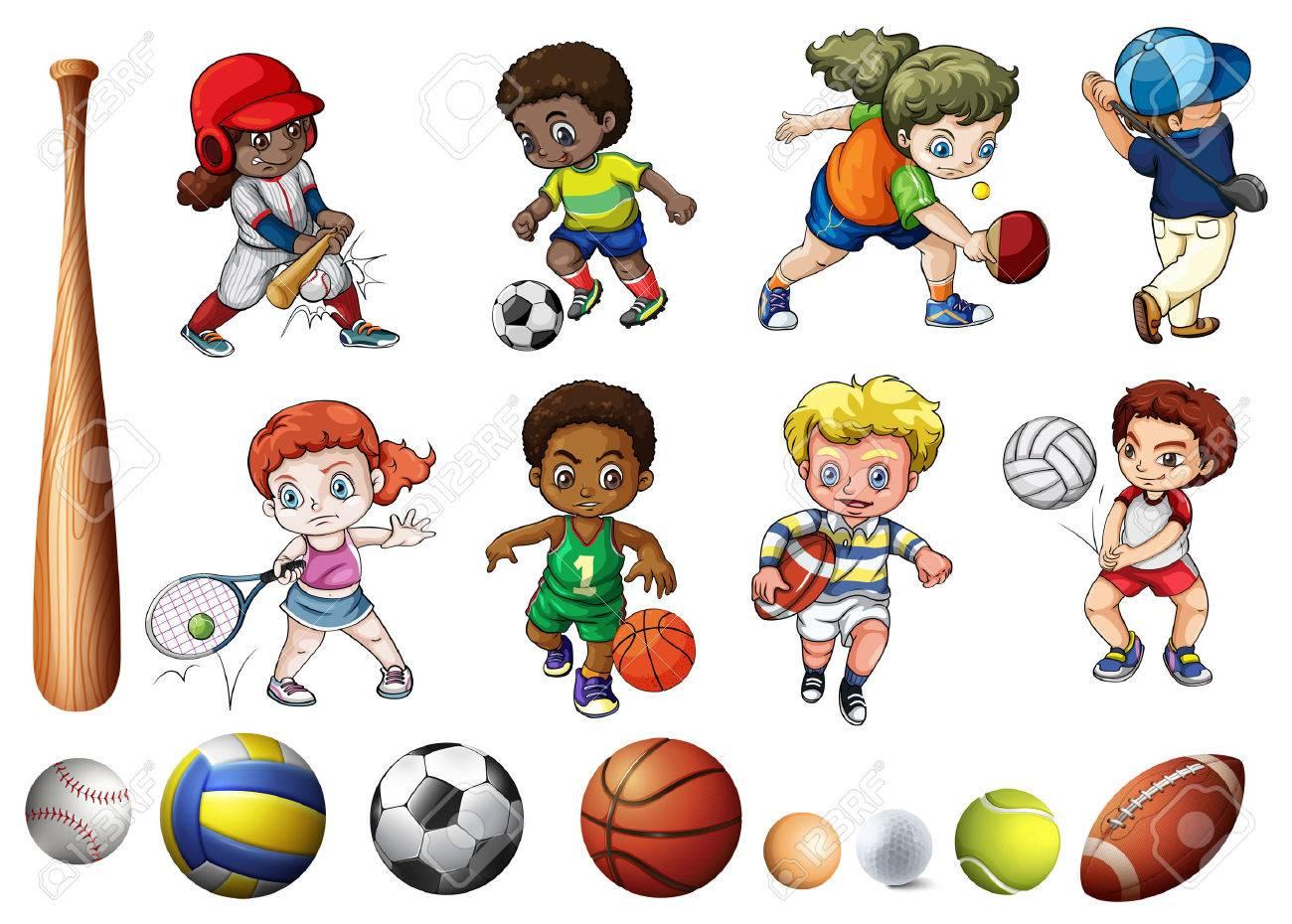ボール遊びの子供関連スポーツ イラスト ロイヤリティフリークリップ