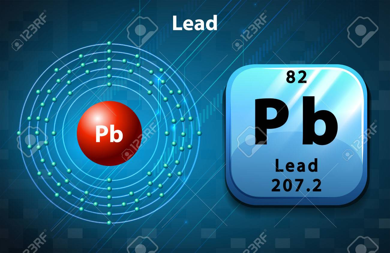 Symbol And Electron Diagram Of Lead Illustration Royalty Free ...