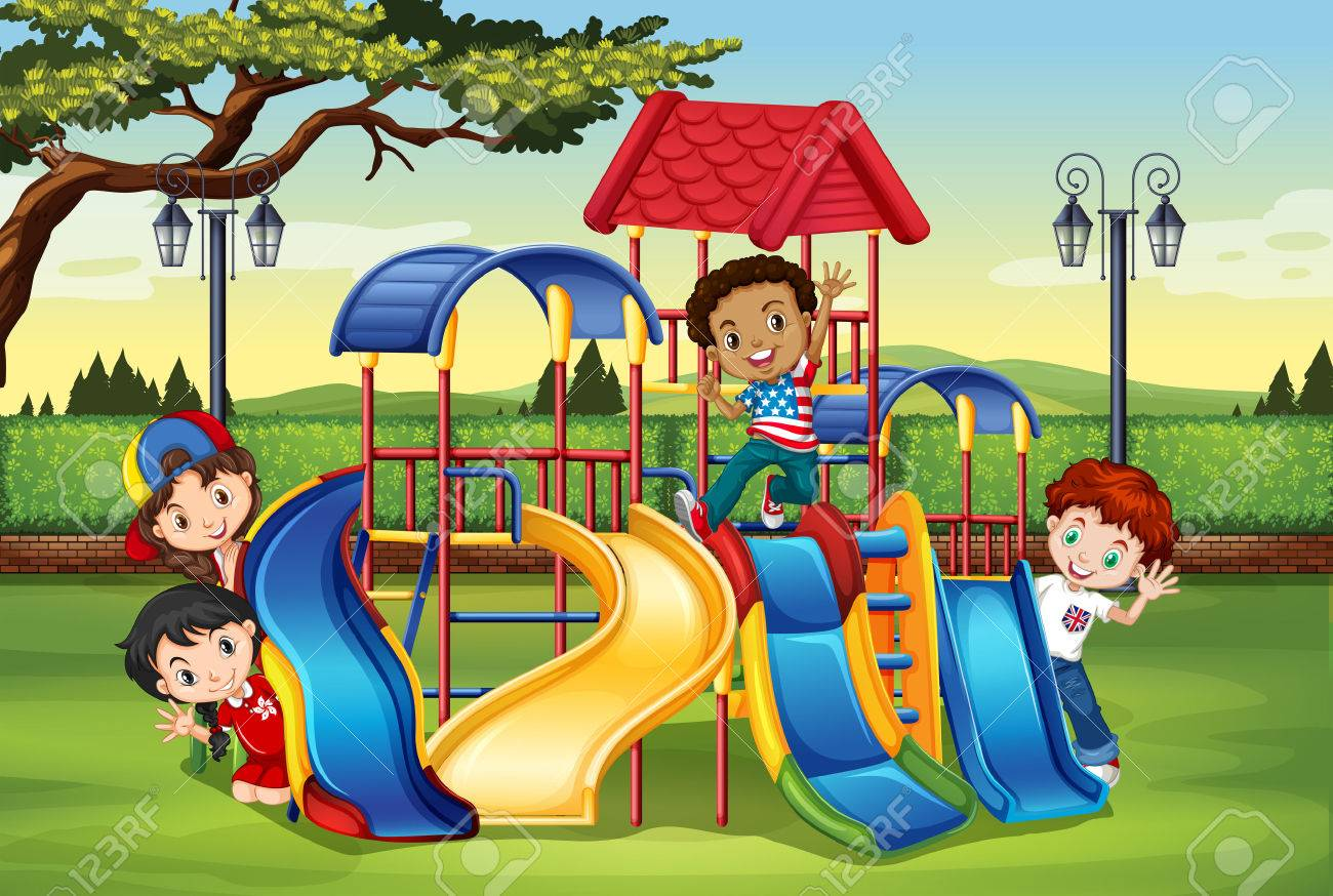 children playing in the playground illustration royalty free rh 123rf com playground clipart borders playground clipart free
