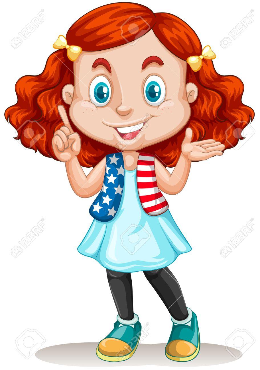 赤髪のイラストがアメリカ人の女の子 ロイヤリティフリークリップ