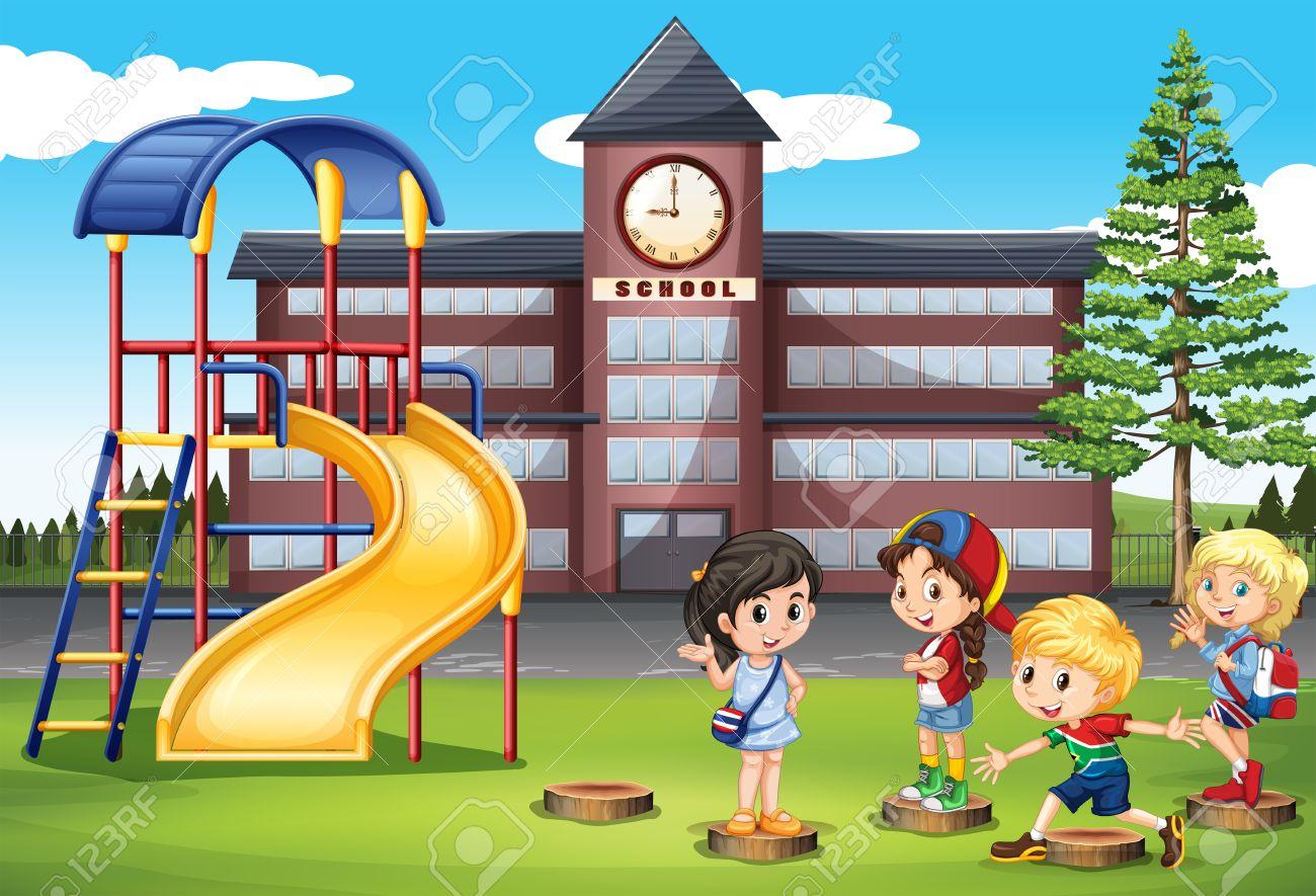 学校の遊び場図で遊んでいる子供たち ロイヤリティフリークリップアート