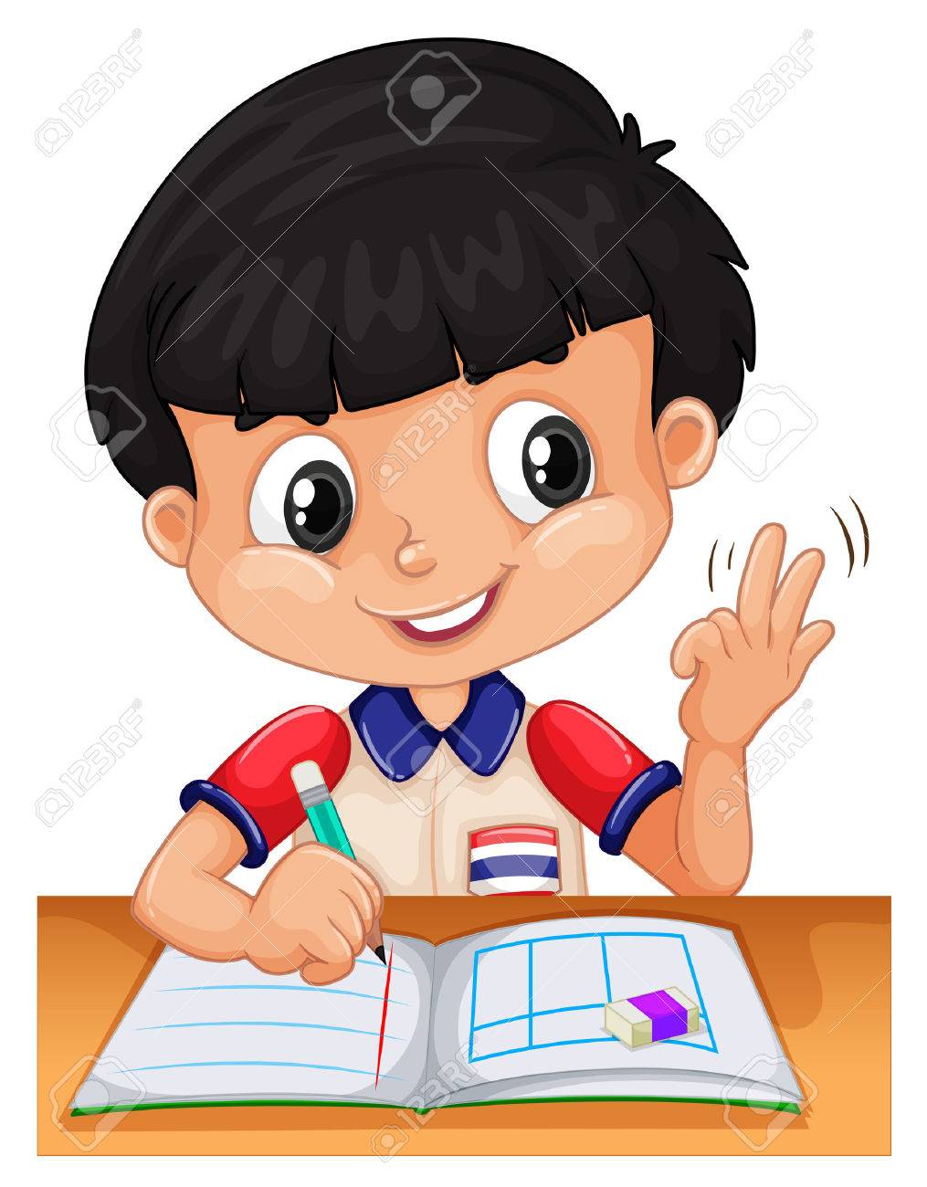 Little boy counting with fingers illustration Stock Vector - 45866241