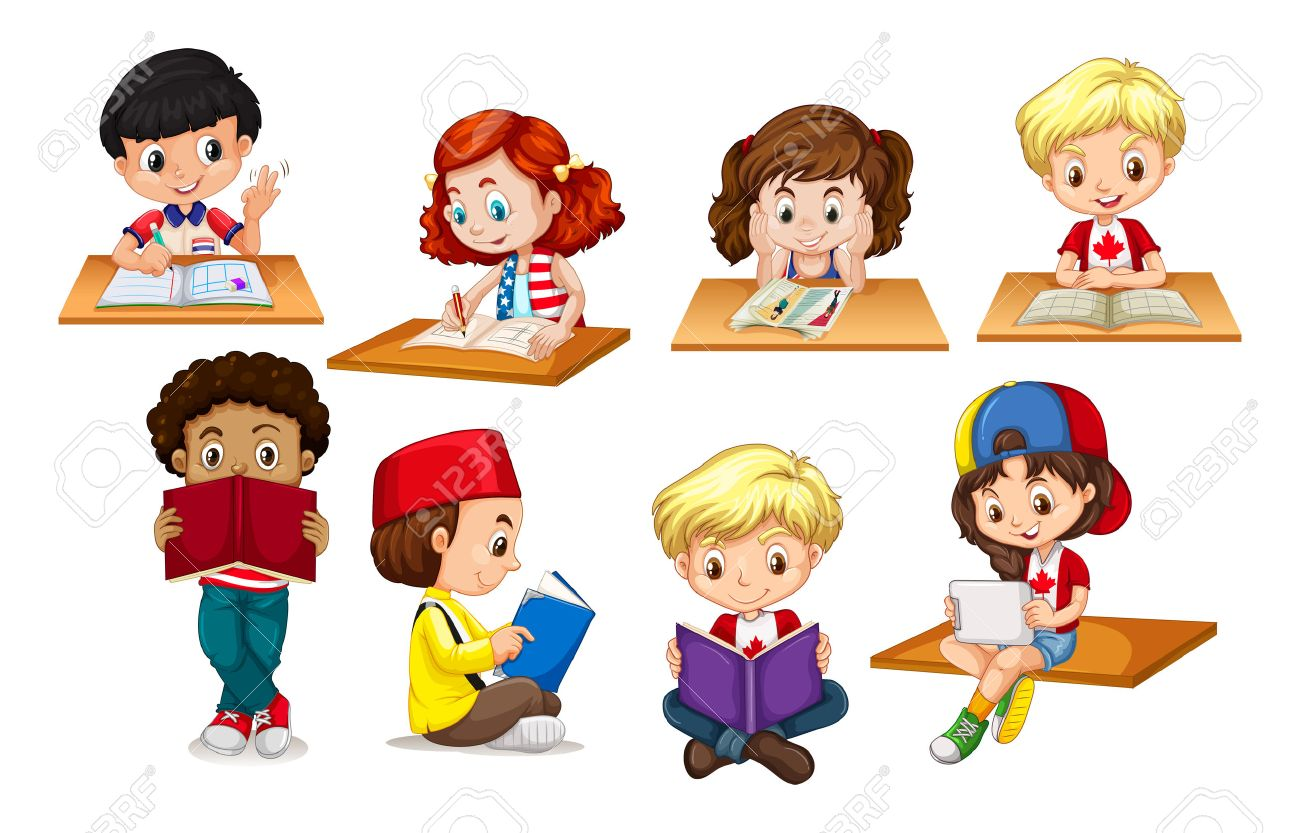 children reading and writing illustration royalty free cliparts