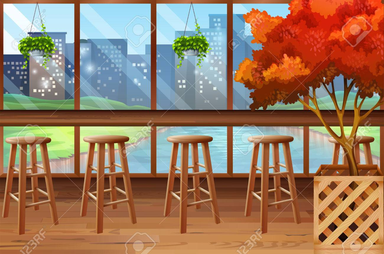 Allinterno di caffè con bar e sgabelli illustrazione clipart