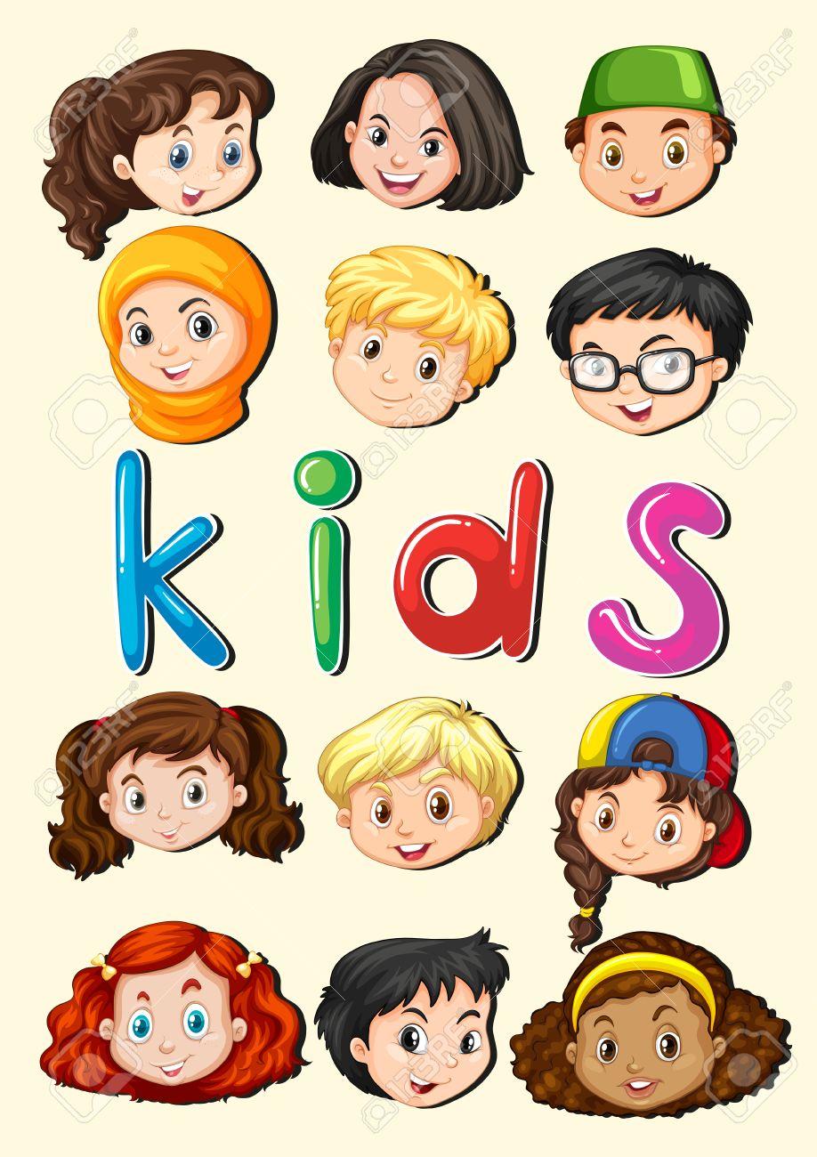 幸せな子供の笑顔の顔イラスト ロイヤリティフリークリップアート