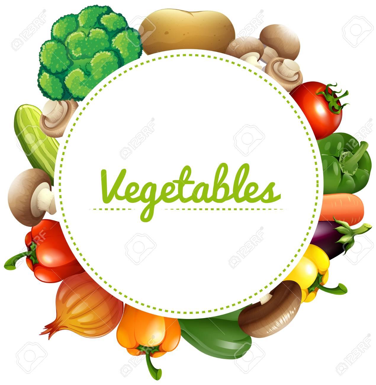 新鮮な野菜のイラスト バナー デザインのイラスト素材ベクタ Image