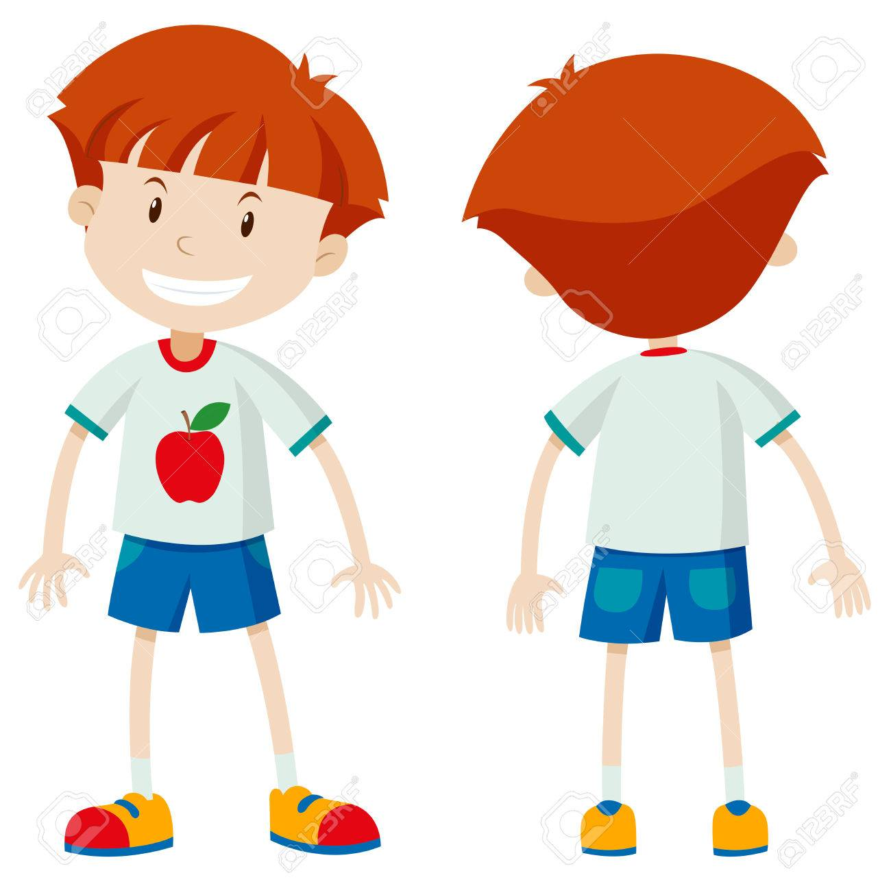 front and back view of a boy illustration royalty free cliparts