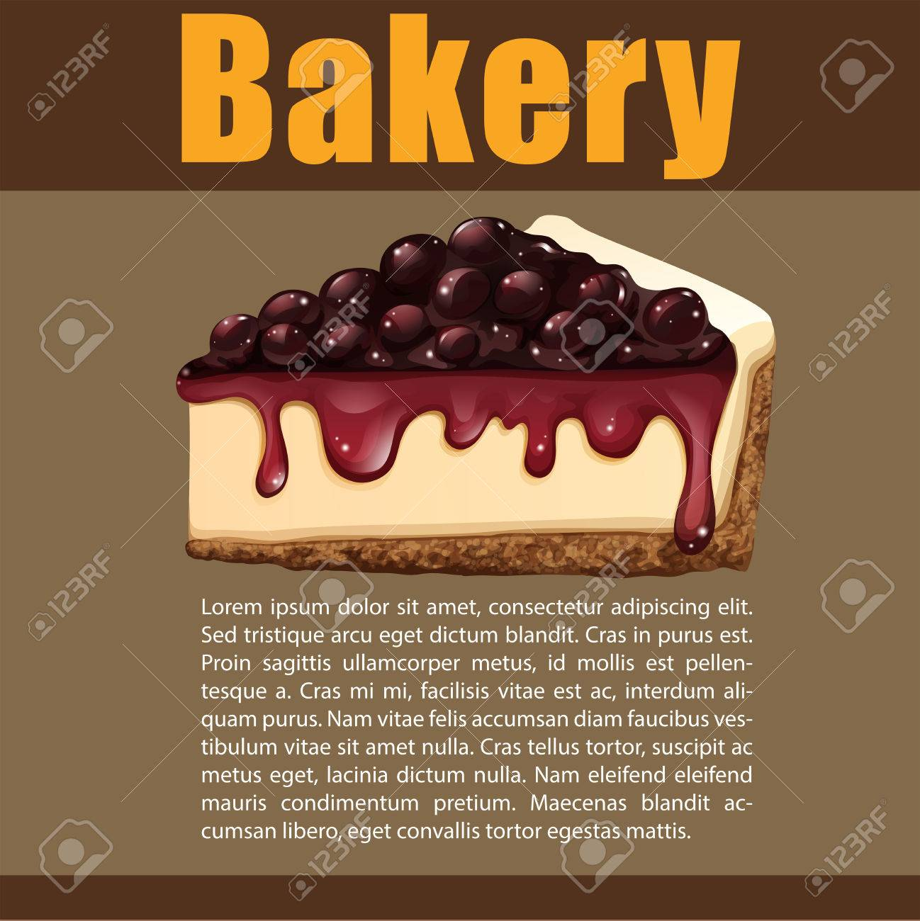 Poster Design With Blueberry Cheesecake Illustration Royalty Free ...