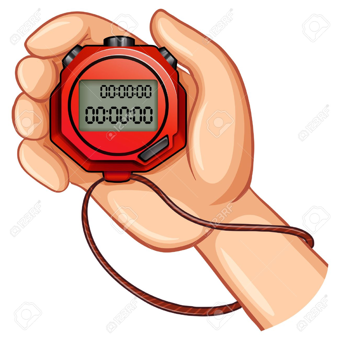 person using digital stopwatch illustration royalty free cliparts rh 123rf com