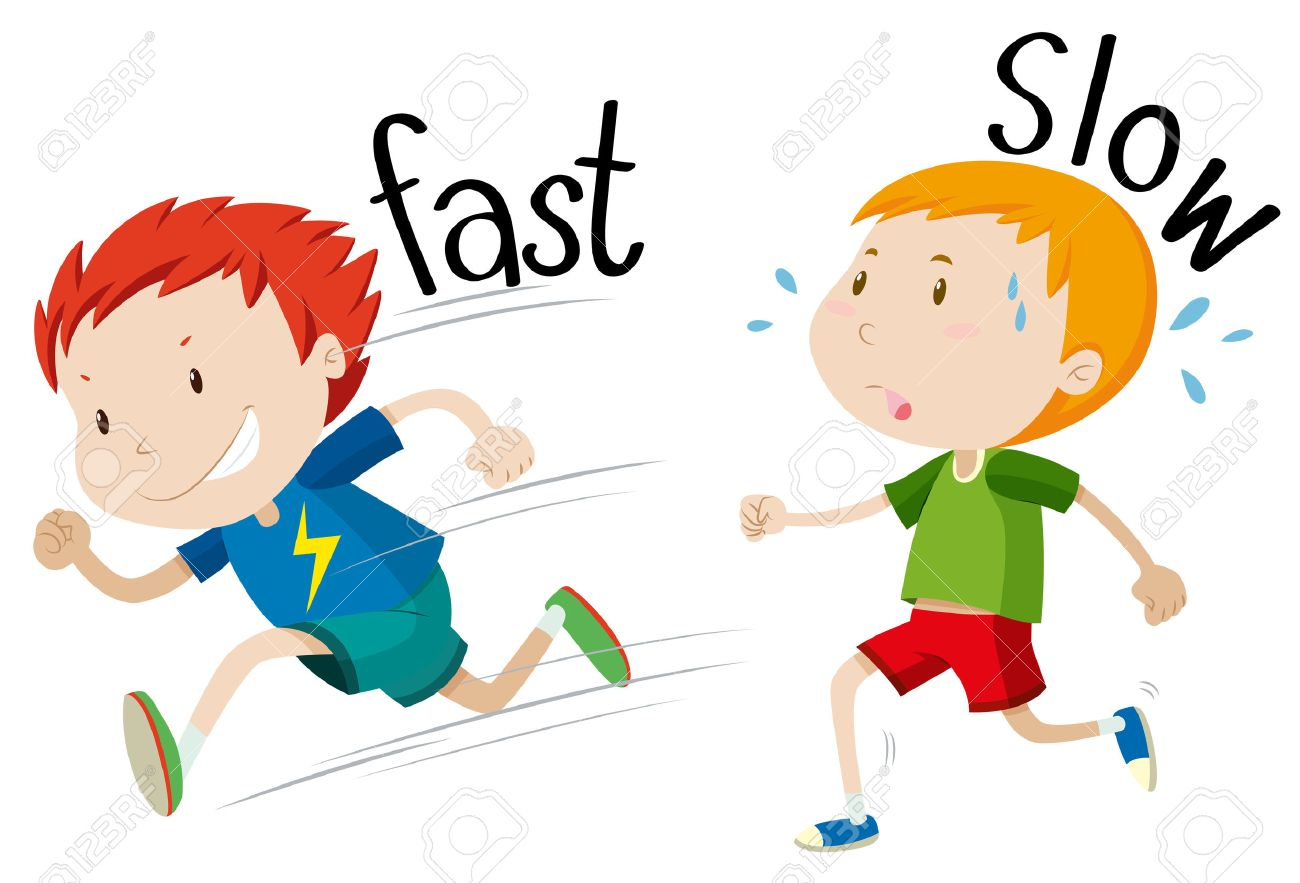 Opposite adjectives fast and slow illustration - 46508971