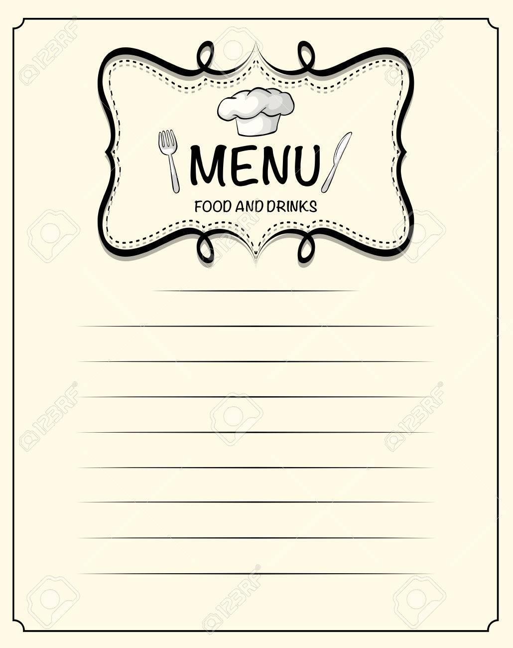 Linie-Papier-Design Mit Menü-Darstellung Lizenzfrei Nutzbare ...