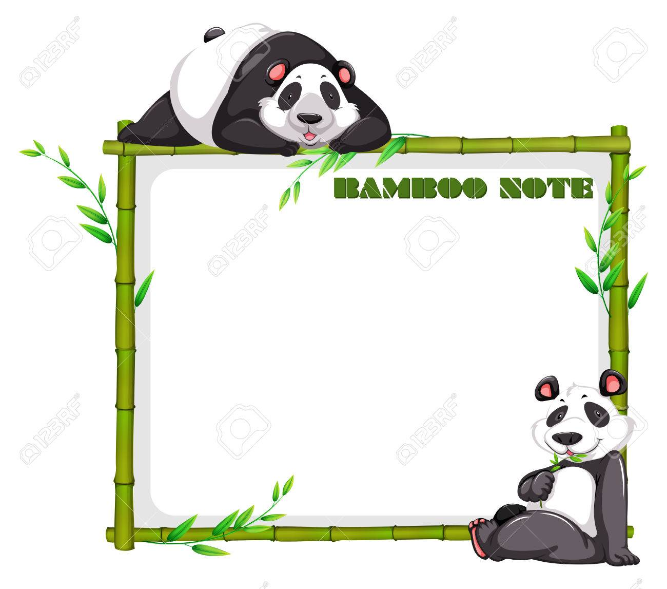 Border Design With Bamboo And Panda Illustration Royalty Free