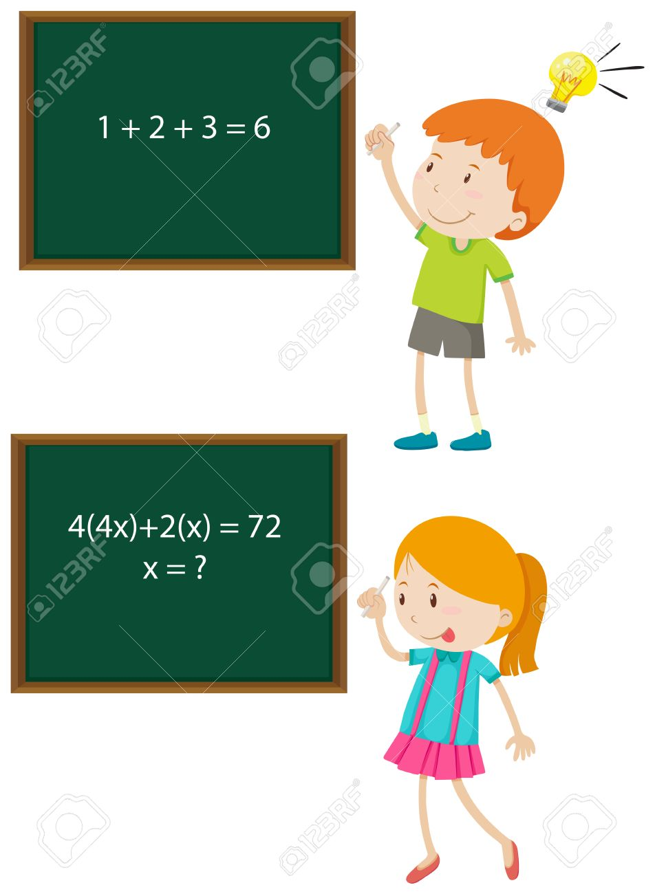 Children Solving Math Problems Illustration Royalty Free Cliparts ...