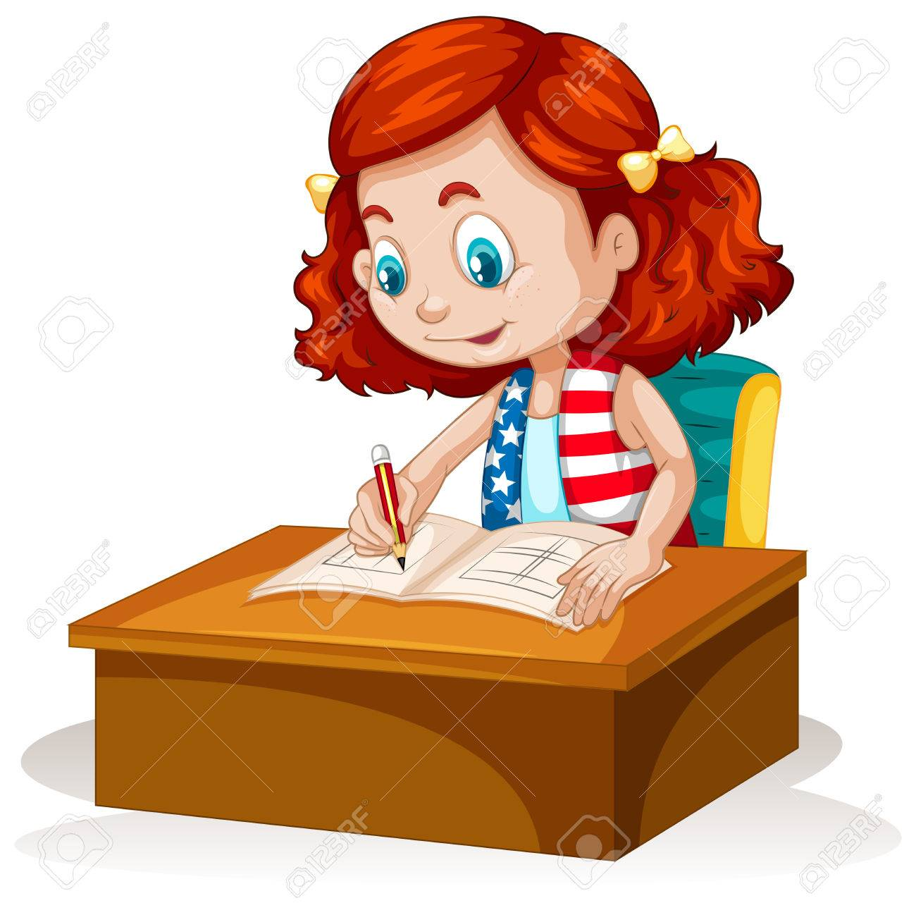 little girl writing on the table illustration royalty free cliparts rh 123rf com  boy and girl writing clipart