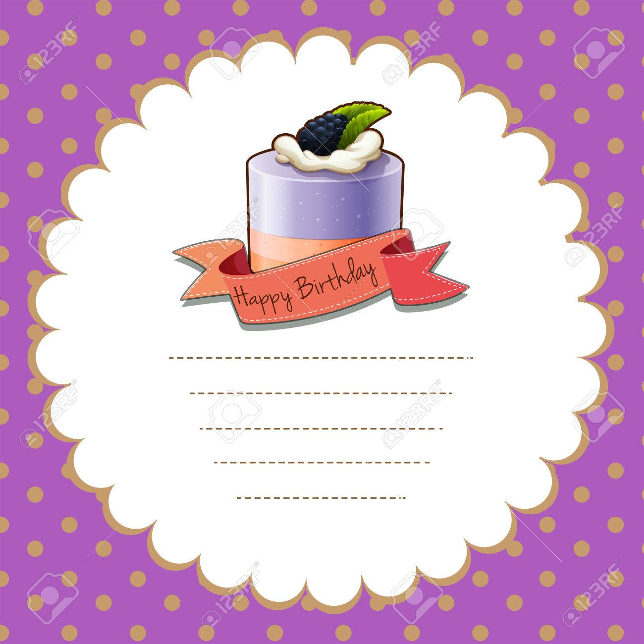 Border Design With Blueberry Cake Illustration Royalty Free Cliparts