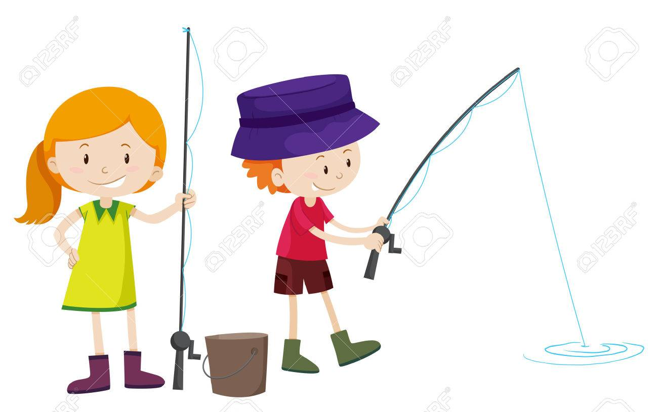 boy and girl fishing illustration royalty free cliparts vectors rh 123rf com