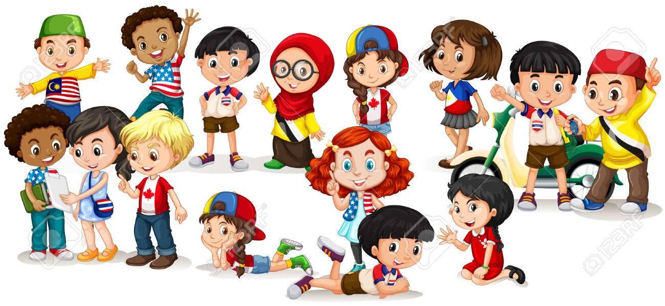 Group of international children illustration - 47018745