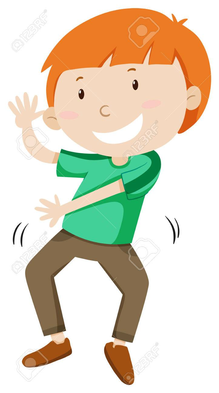 Little Boy Dancing Alone Illustration Stock Vector