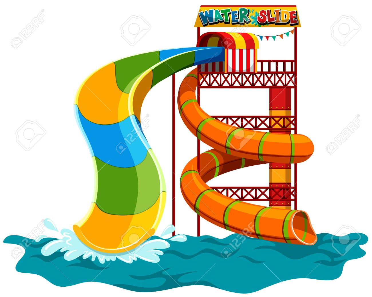 water slide at the park illustration royalty free cliparts vectors rh 123rf com free water slide clipart free water slide clipart