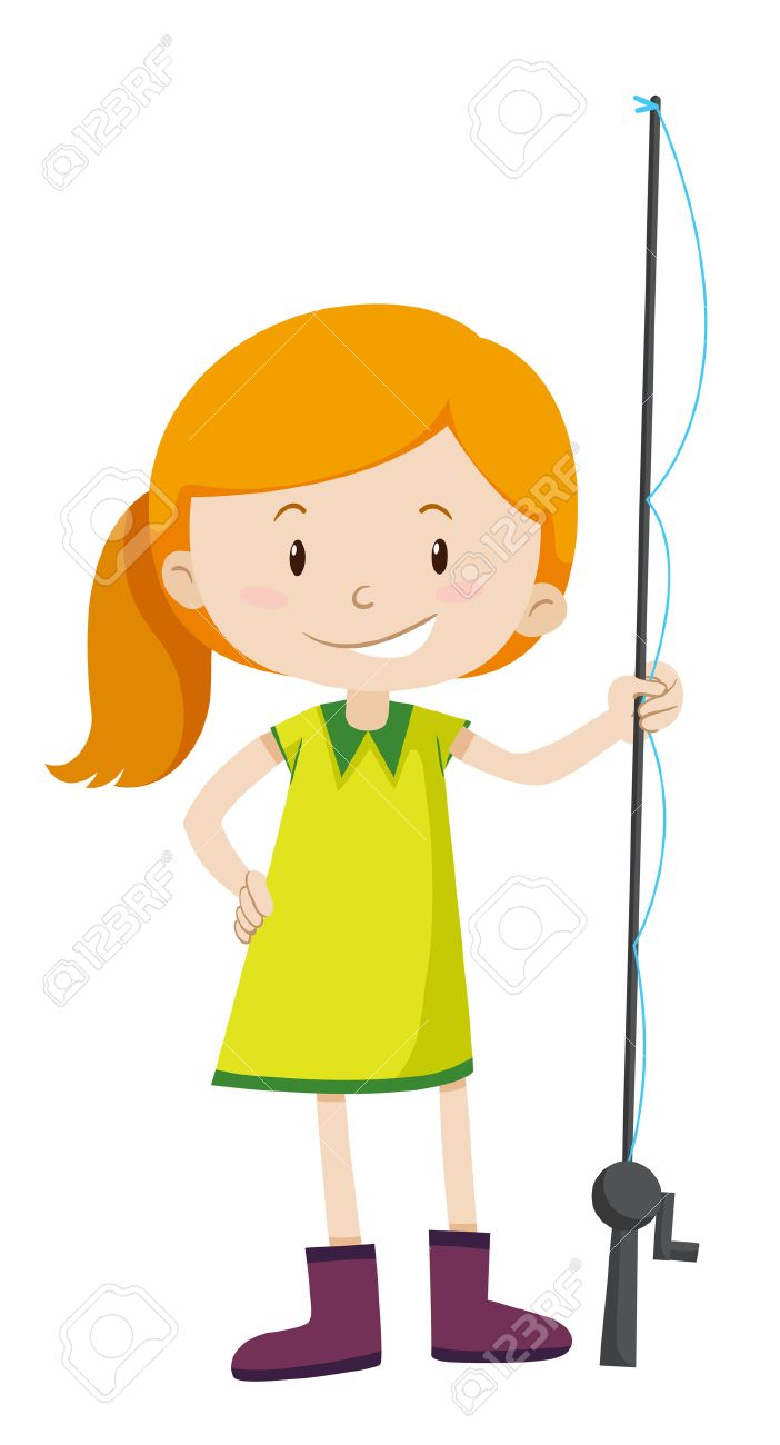 little girl with fishing pole illustration royalty free cliparts rh 123rf com Little Boy Fishing Cartoon boy and girl fishing clipart