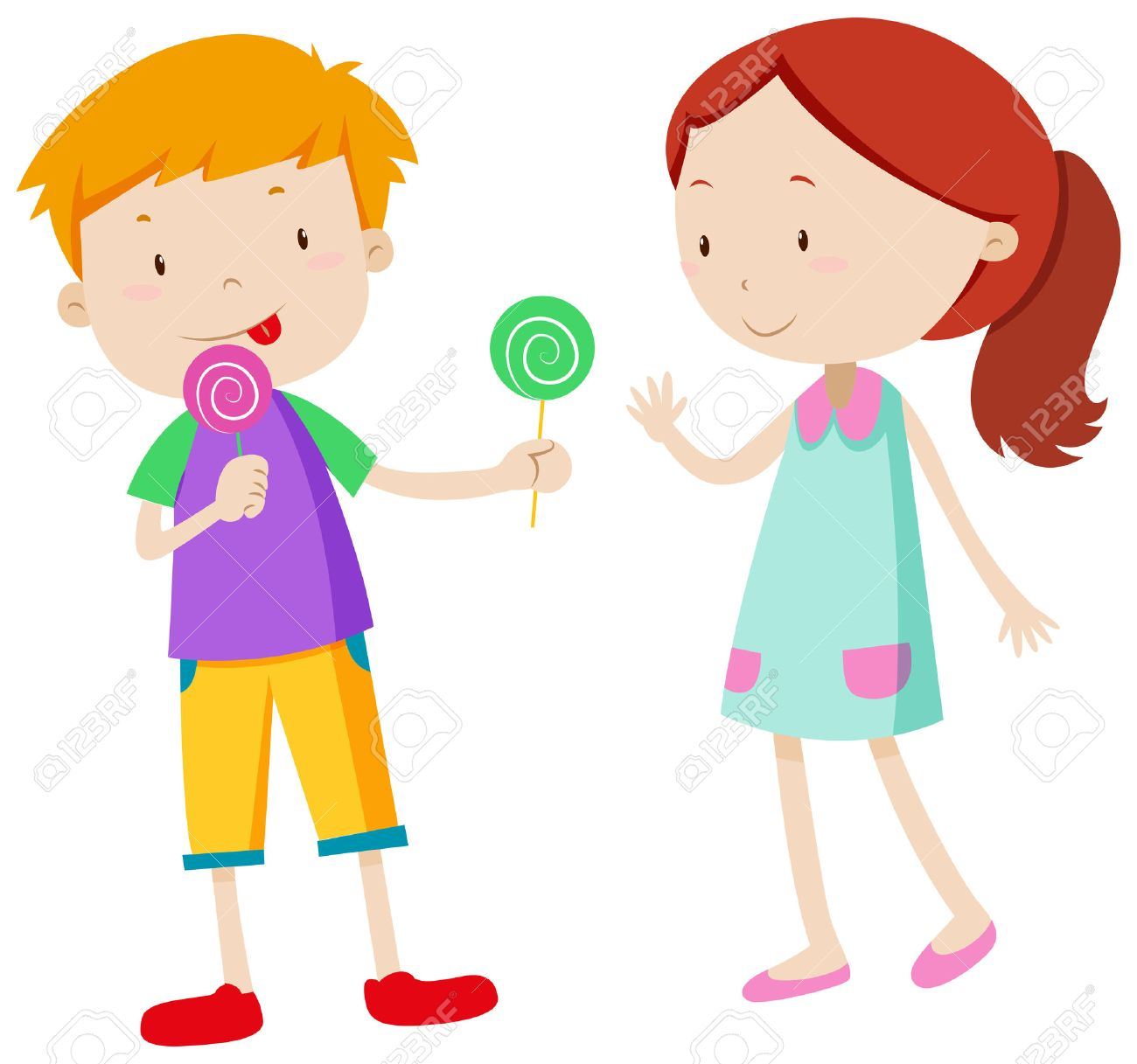 boy sharing candy with the girl illustration royalty free cliparts rh 123rf com sharing clip art images not sharing clip art
